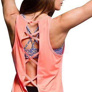 ONZIE Yoga Criss Cross Back Tank Neon Coral